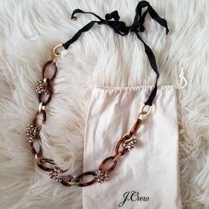 J.Crew Leopard Print Gold Chain Necklace